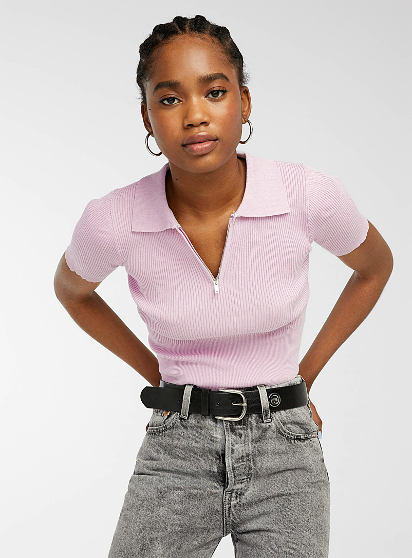 Twik Mauve Finely ribbed slim-fit half-zip polo for women
