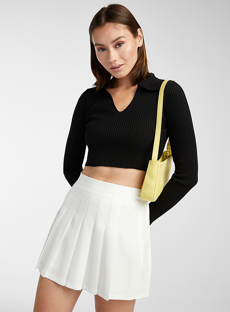 Twik Black Finely ribbed slim-fit Johnny collar sweater for women