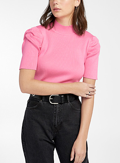 Twik Pink Puff sleeve high-neck for women