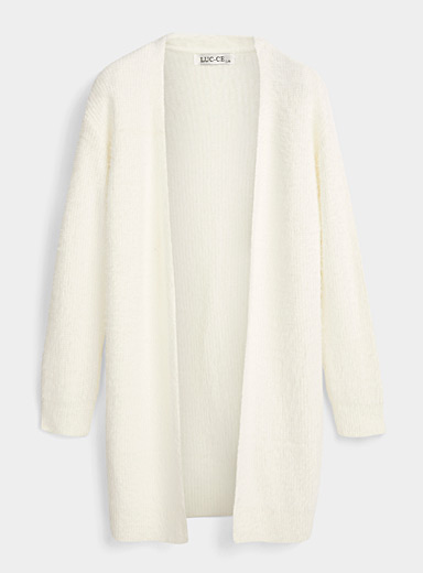 Miiyu Ivory White Fuzzy knit cardigan robe for women
