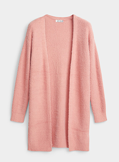 Miiyu Dusky Pink Fuzzy knit cardigan robe for women