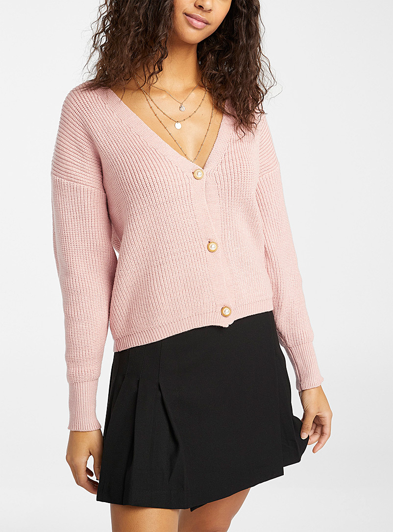 Twik Dusky Pink Jewel-button ribbed cardigan for women