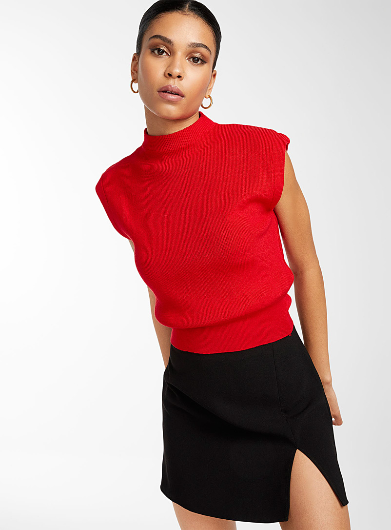 Icône White Shoulder pad look sweater for women