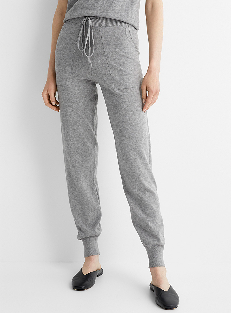 Contemporaine Charcoal Soft knit joggers for women