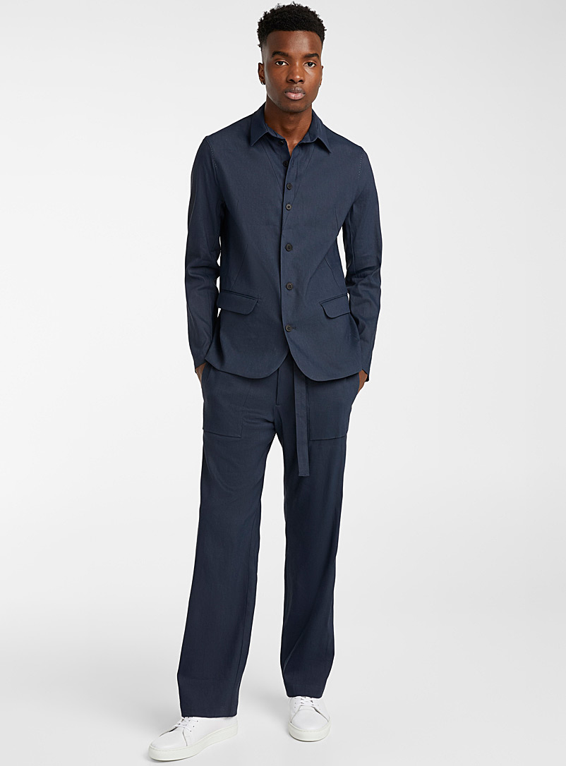 Sarah Pacini MAN Marine Blue Buttoned-collar blazer for men