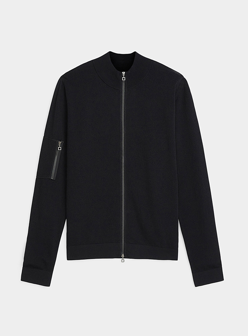 Sarah Pacini MAN Black Techno zip cardigan for men