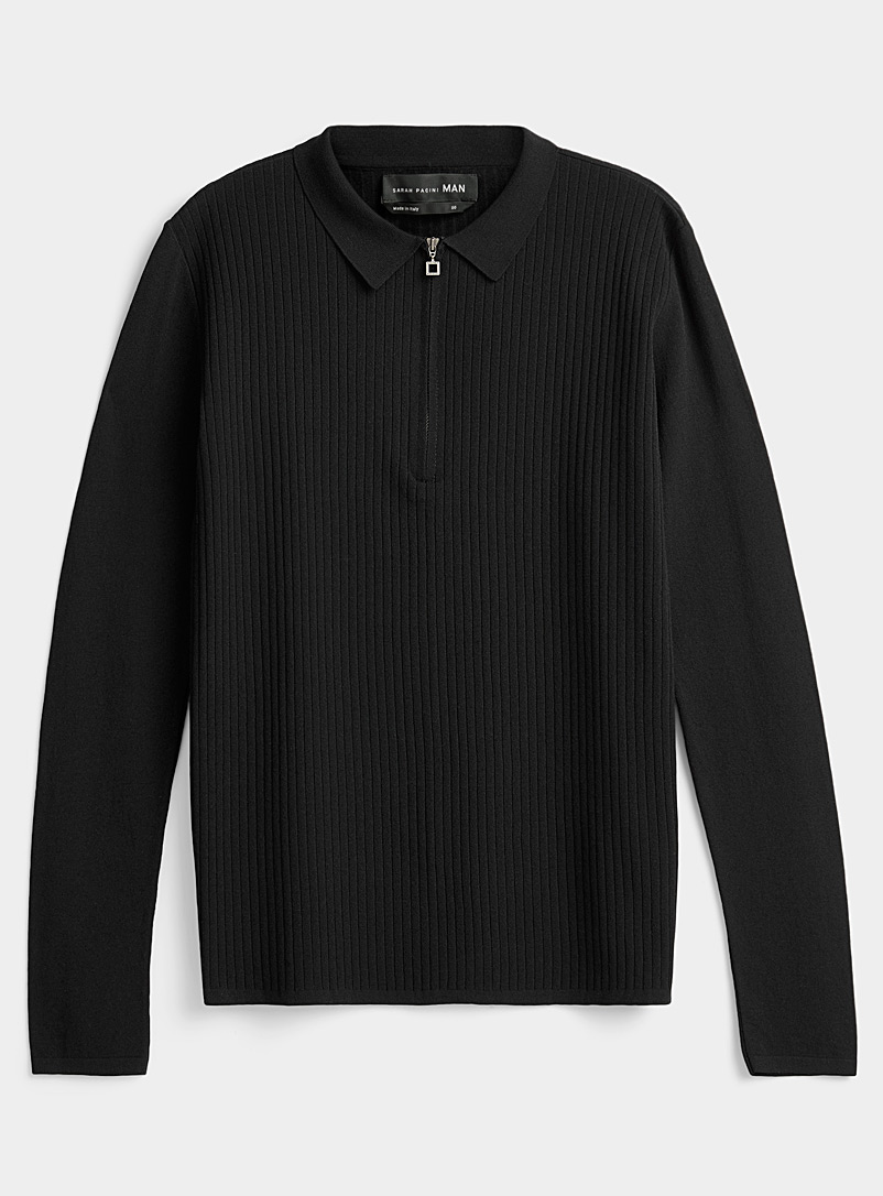 Sarah Pacini MAN Black Ribbed polo for men
