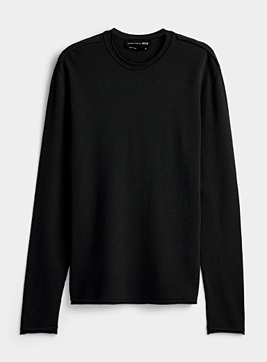 Sarah Pacini MAN Black Lightweight crew neck sweater for men