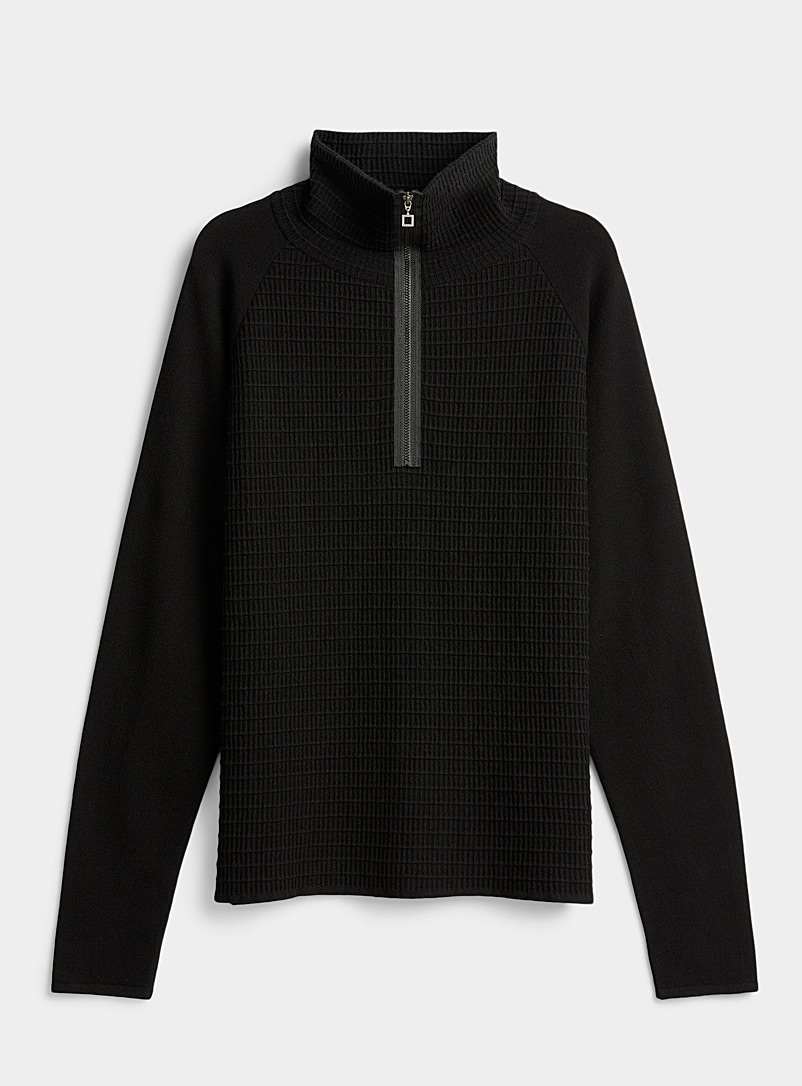 Sarah Pacini MAN Black Half-zip waffle sweater for men