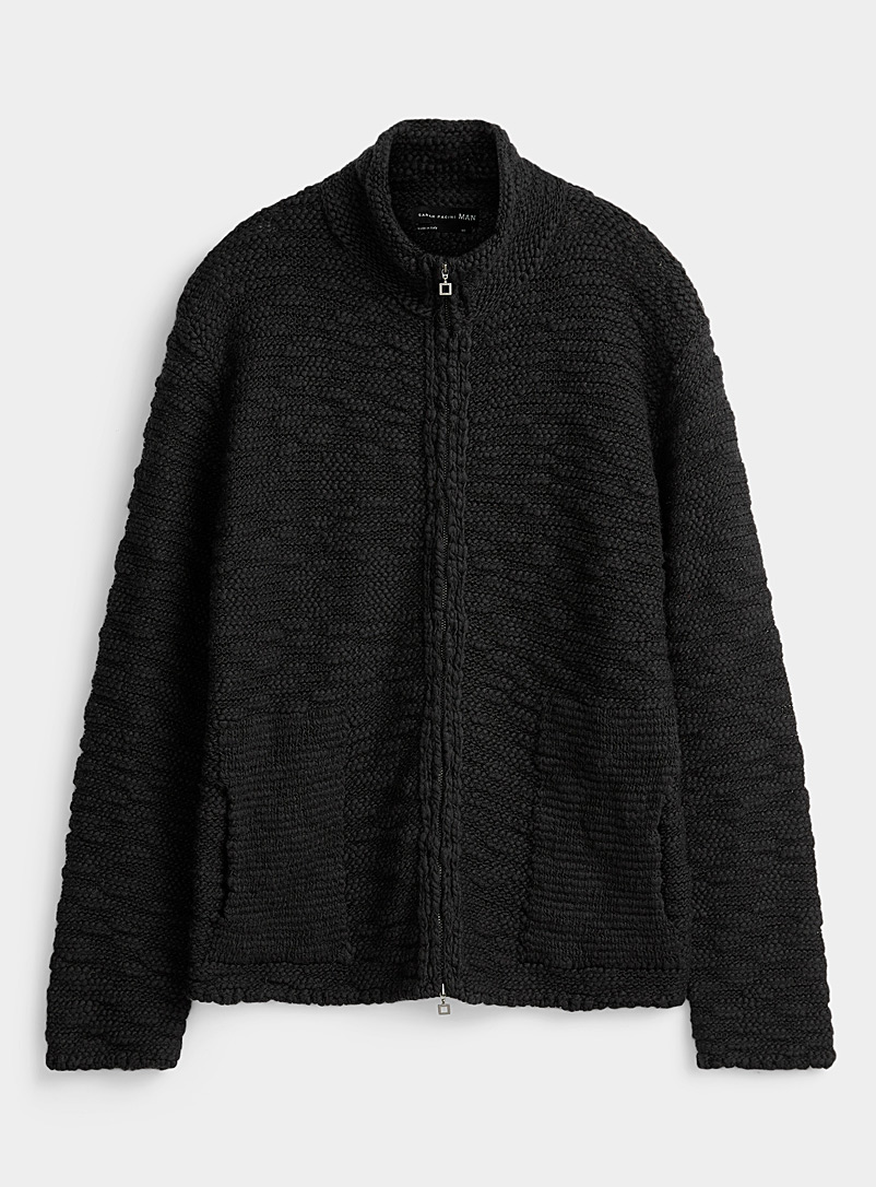 Sarah Pacini MAN Black Long textured cardigan for men