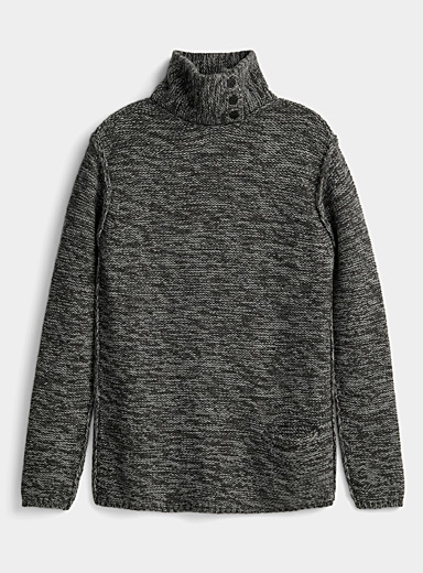 Sarah Pacini MAN Grey Buttoned-collar heathered sweater for men