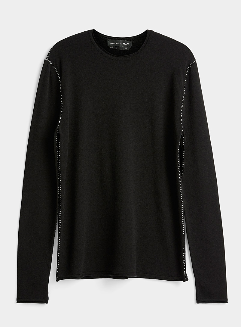 Sarah Pacini MAN Black Seam knit sweater for men