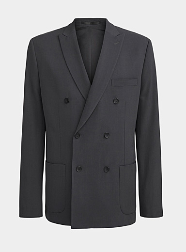 Double-breasted charcoal blazer