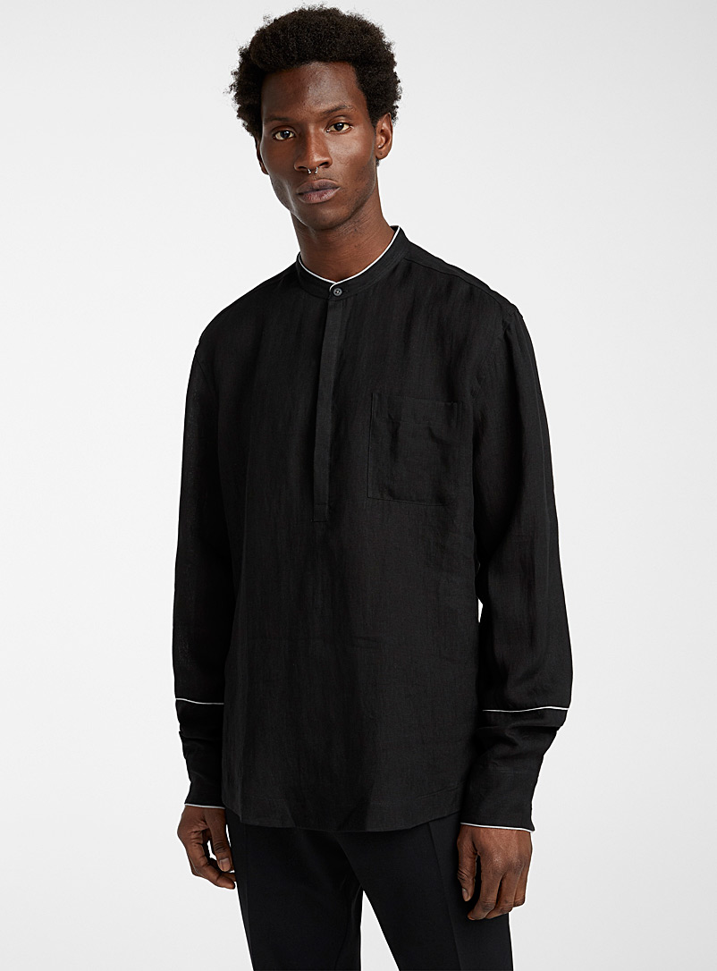 Philippe Dubuc Black Contrast piping shirt for men
