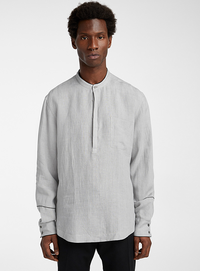 Philippe Dubuc Grey Contrast piping shirt for men