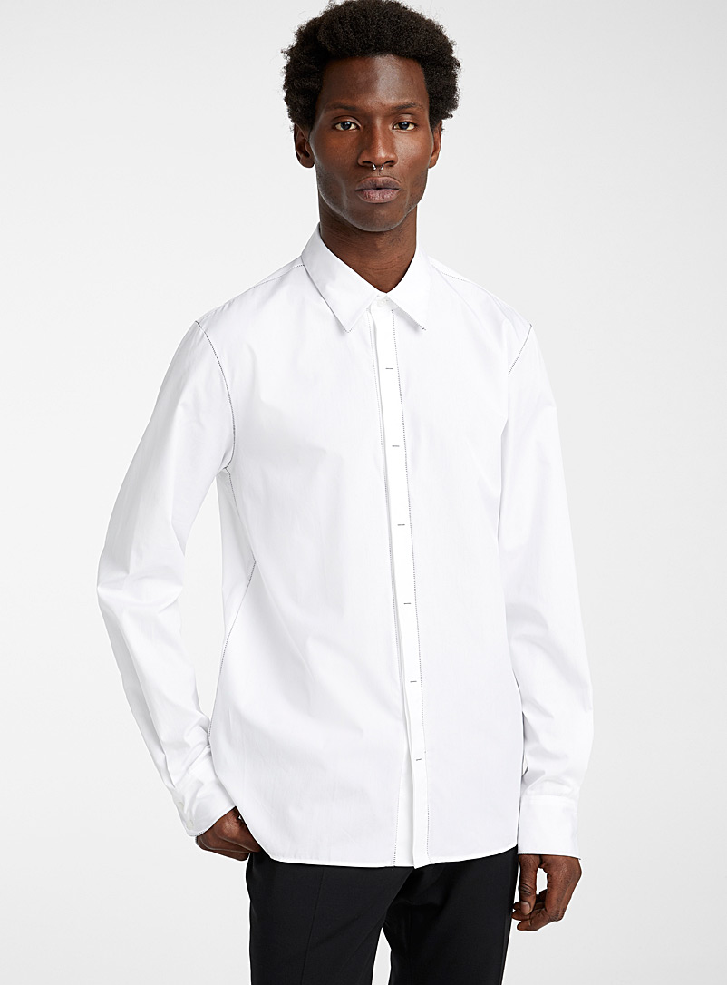 Philippe Dubuc White Contrast stitching shirt for men