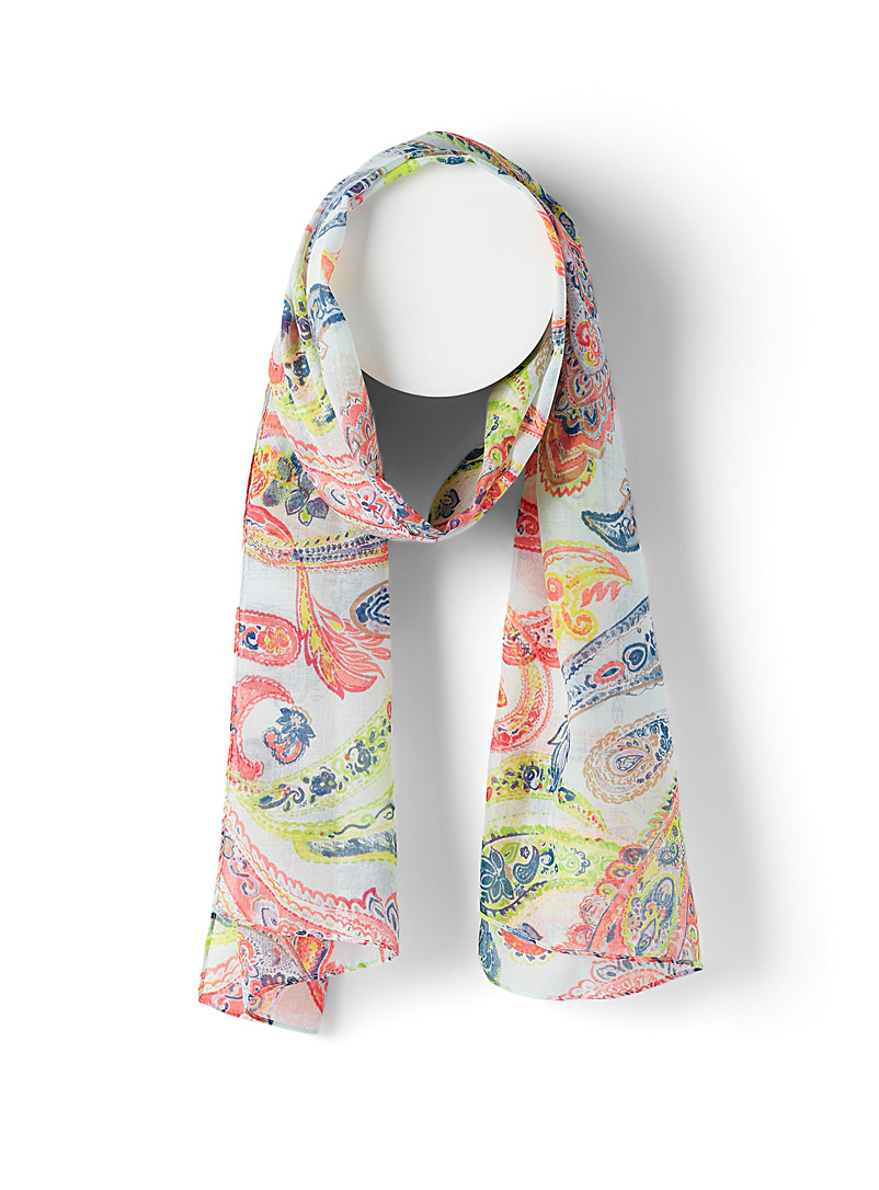 Simons Patterned White Neon paisley scarf for women