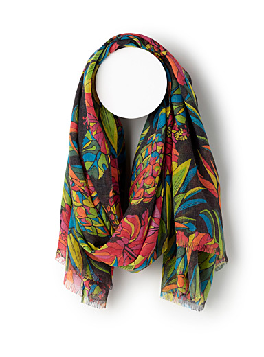 Tropical flower scarf