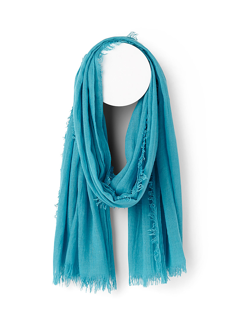 Simons Marine Blue Monochrome pleated scarf for women