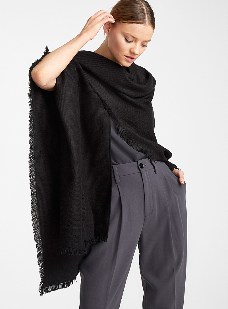 Simons Black Monochrome shawl for women