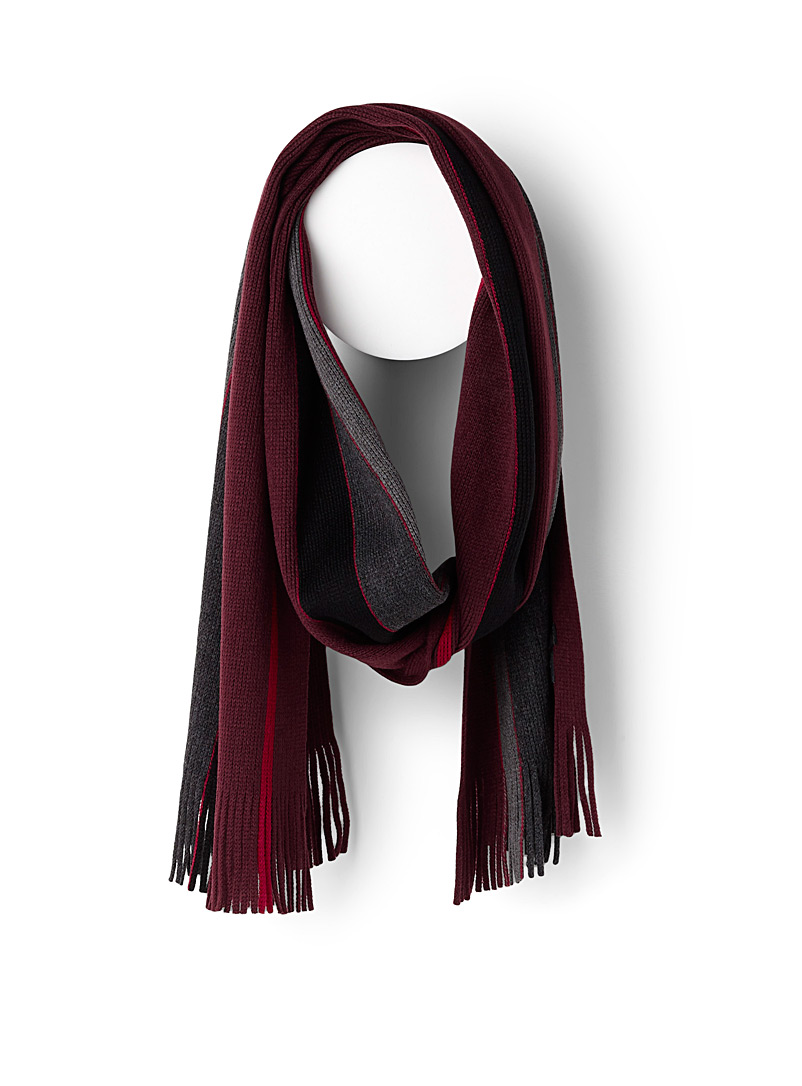 Le 31 Ruby Red Mixed stripe scarf for men