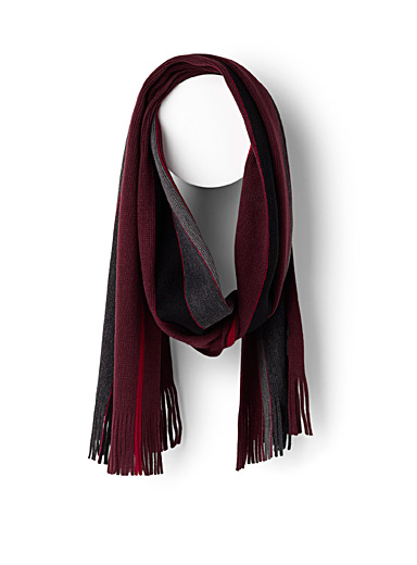 Wine red stripe scarf