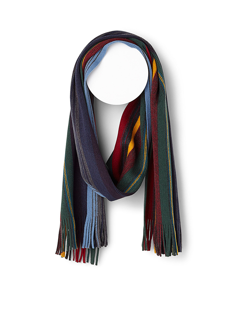 Colourful stripe scarf - Outdoor scarves - Patterned Blue