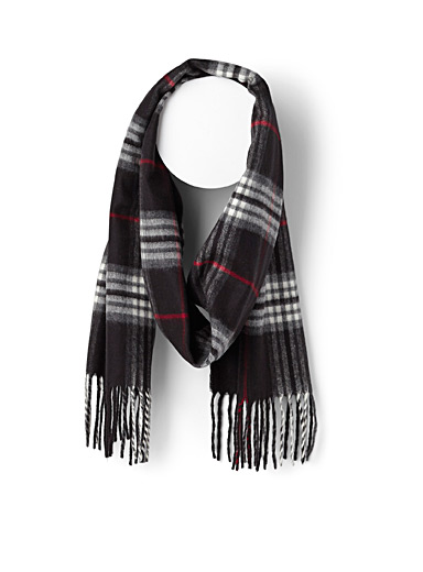 Black English check scarf