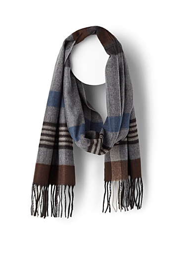 Grey block striped scarf