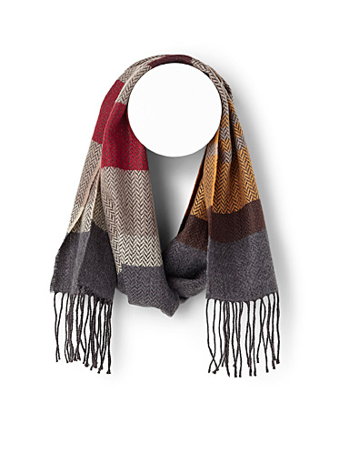 Herringbone block stripe scarf