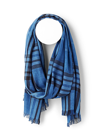 Le 31 Patterned Blue Heathered check scarf for men