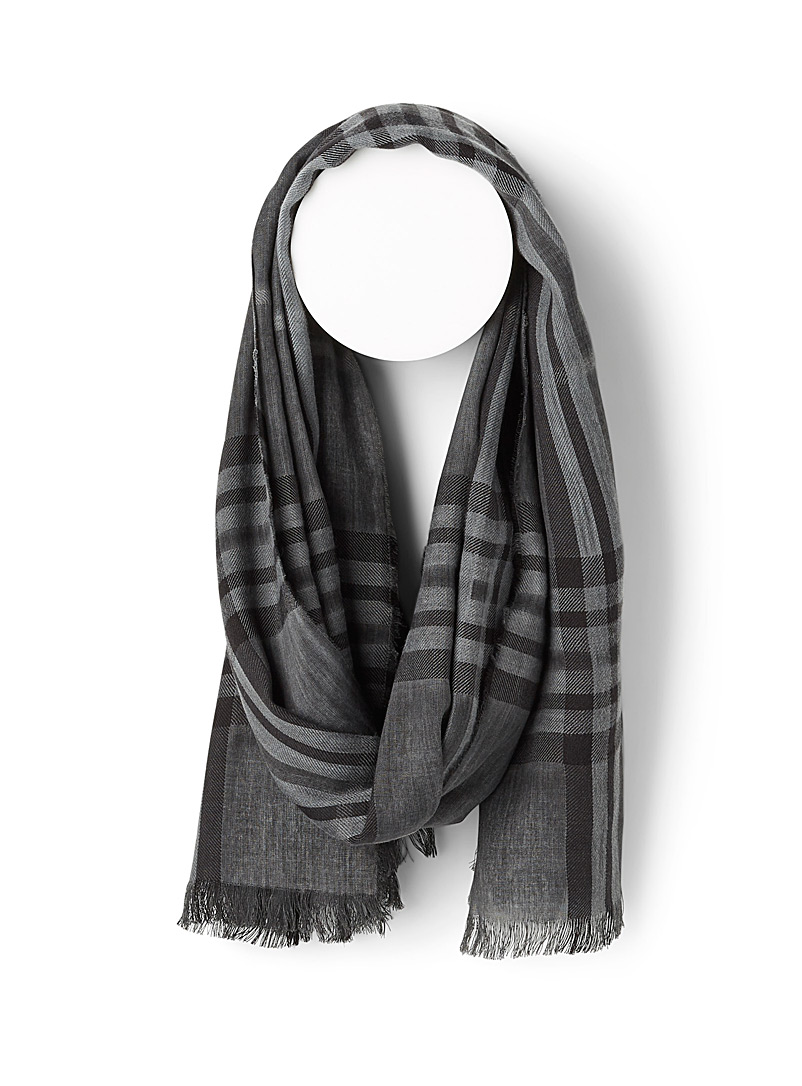 Le 31 Patterned Black Heathered check scarf for men
