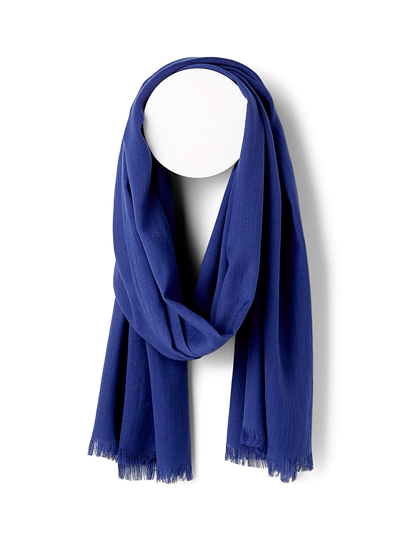 Le 31 Blue Lightweight monochrome scarf for men