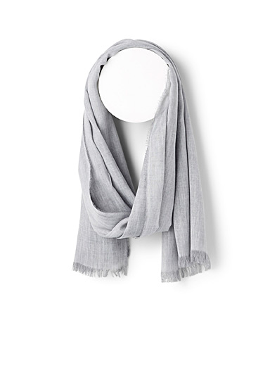 Le 31 Light Grey Monochrome scarf for men