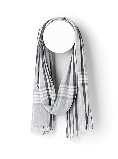 Le 31 Patterned Grey Modern check scarf for men