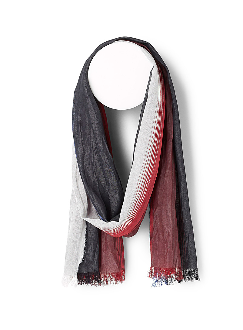 Le 31 Patterned Red Block stripe scarf for men