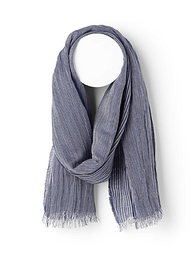 Le 31 Marine Blue Etched stripe scarf for men