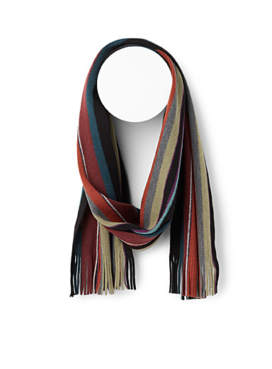 Le 31 Ruby Red Fall stripe scarf for men