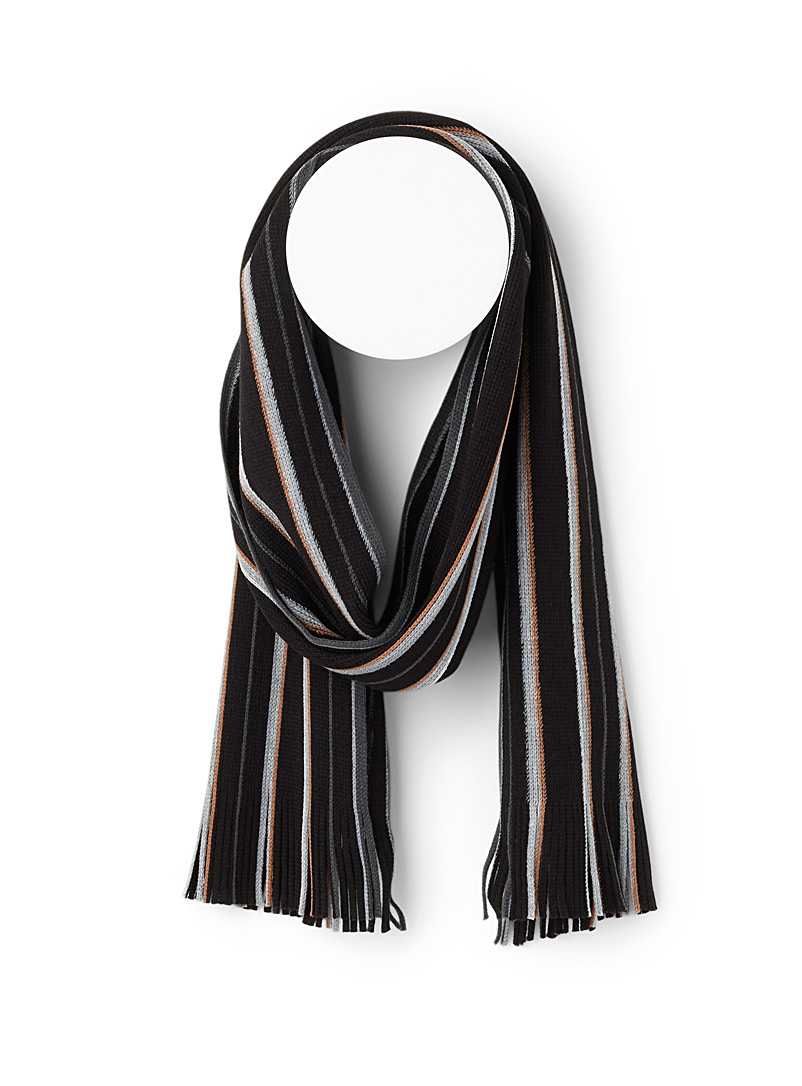 Le 31 Patterned Black Ochre-accent stripe scarf for men
