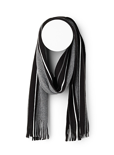 Le 31 Black Piqué block scarf for men
