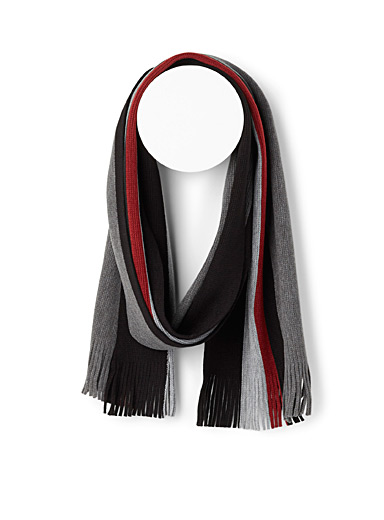 Le 31 Patterned Black Macro stripe scarf for men