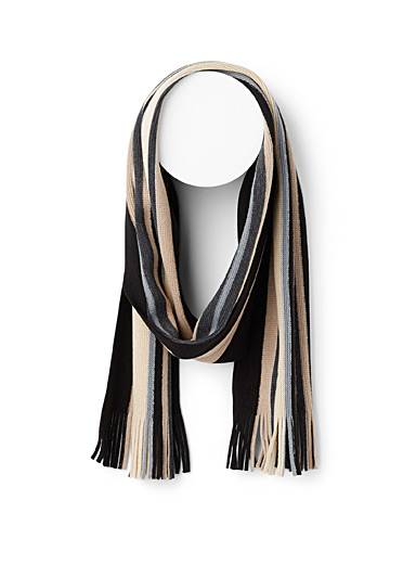 Le 31 Black Neutral stripe scarf for men