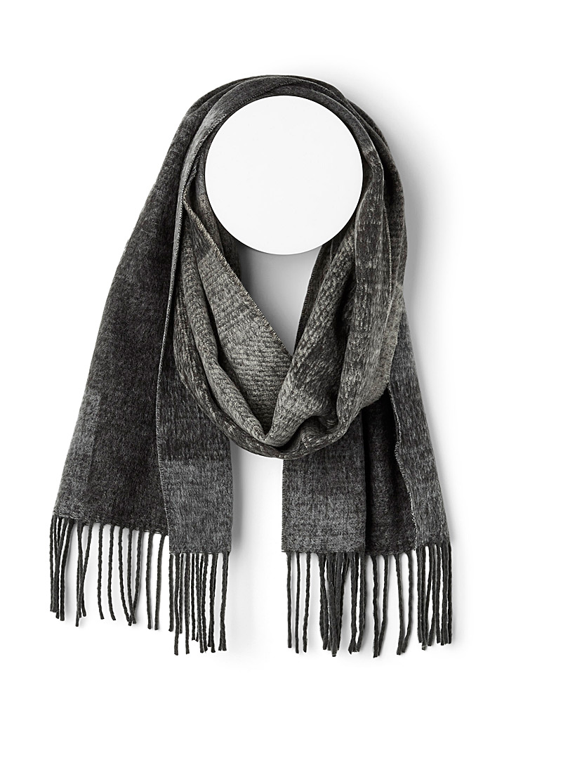 Ash grey abstract scarf