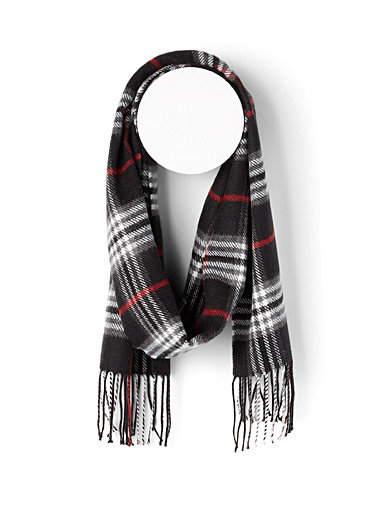 Le 31 Black Tartan check scarf for men