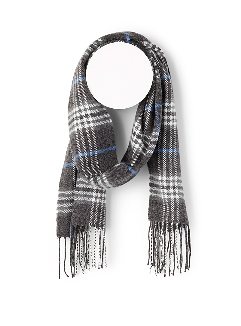 Le 31 Charcoal Tartan check scarf for men