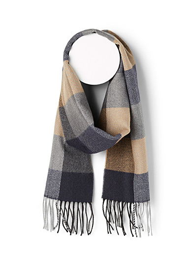 Le 31 Brown Checkered scarf for men