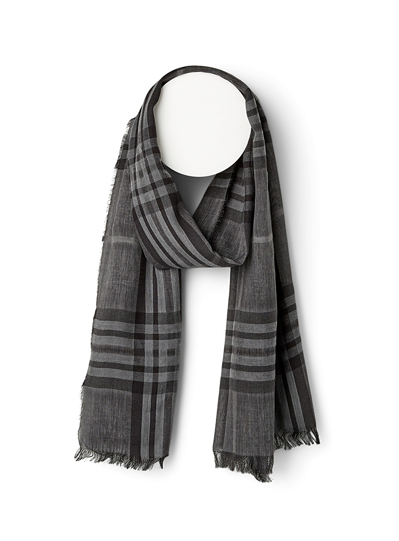 Le 31 Patterned Black Dark check lightweight scarf for men