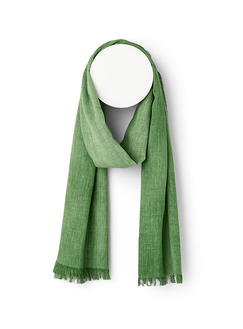 Le 31 Green Heather grey lightweight scarf for men