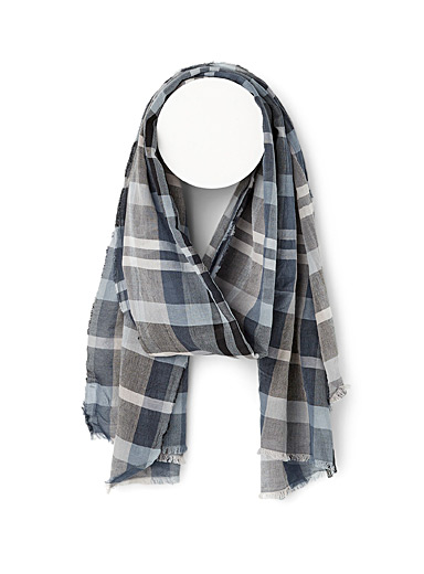 Blue mini check lightweight scarf