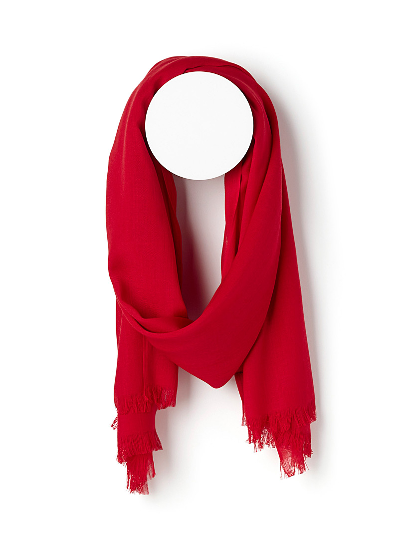 Simons Red Monochrome weave scarf for women